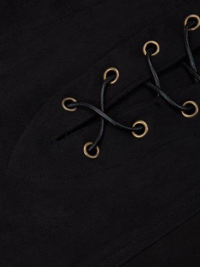 A Line Faux Suede Mini Skirt - BLACK L Mobile