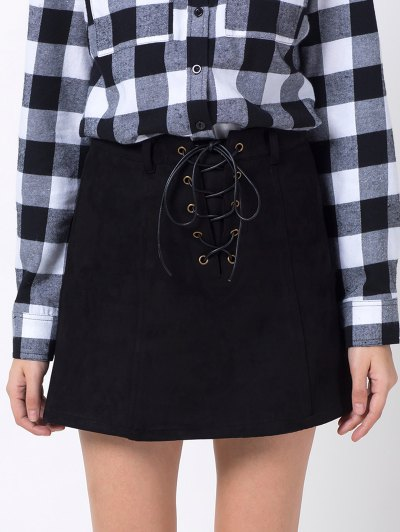 A Line Faux Suede Mini Skirt - BLACK M Mobile