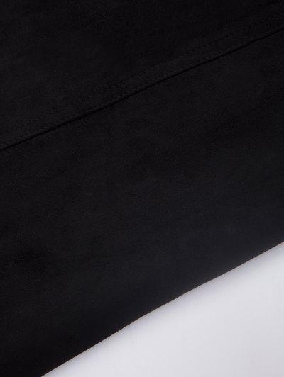 A Line Faux Suede Mini Skirt - BLACK S Mobile