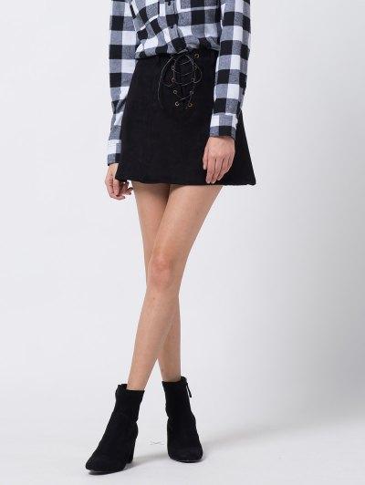A Line Faux Suede Mini Skirt - BLACK XS Mobile