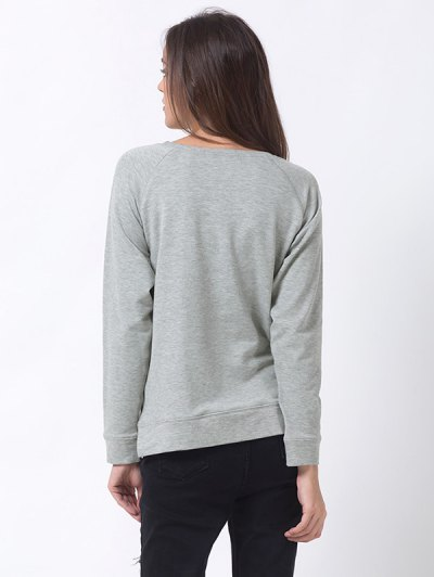 Basic Raglan Sweatshirt - GRAY 3XL Mobile