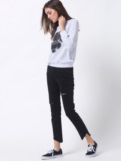 Polka Dot Sweatshirt - WHITE M Mobile