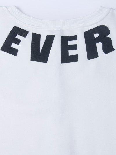 Letter Star Print Pullover Sweatshirt - WHITE S Mobile