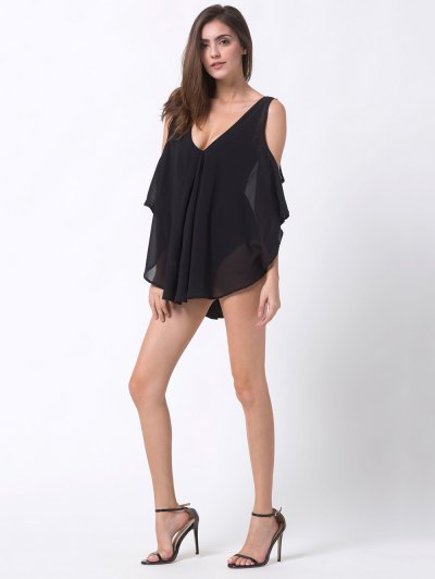 Plunging Neck Layered Bodysuit - BLACK 2XL Mobile