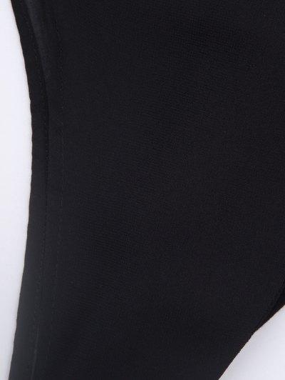 Plunging Neck Layered Bodysuit - BLACK L Mobile