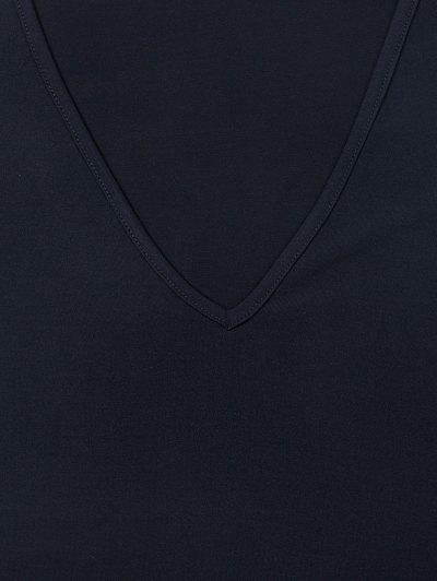 Fitted Long Sleeve Plunge Bodysuit - BLACK L Mobile