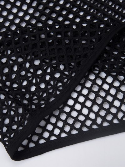 Longline Fishnet Tank Top - BLACK L Mobile