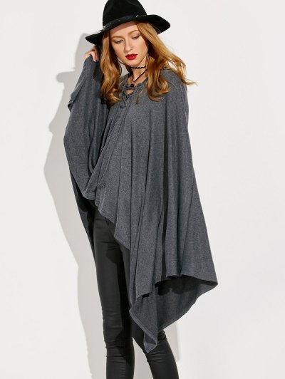 Lace Up Hooded Cape - GRAY ONE SIZE Mobile