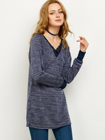 Loose Lace Spliced Sweatshirt - BLUE 2XL Mobile