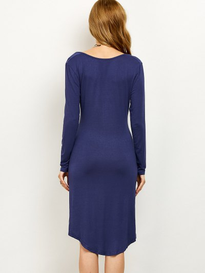 Ruched High-Low Pencil Dress - PURPLISH BLUE 2XL Mobile