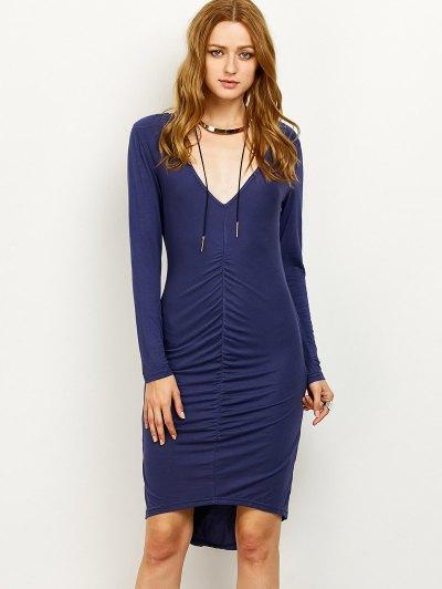 Ruched High-Low Pencil Dress - PURPLISH BLUE L Mobile