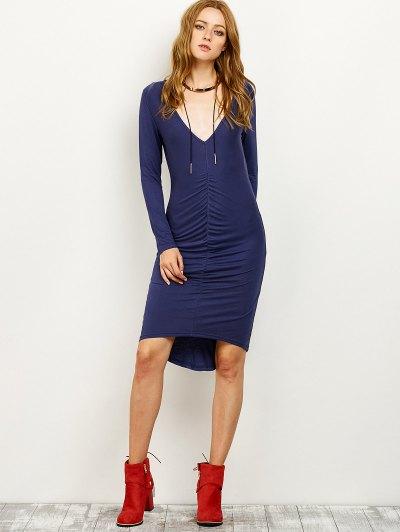 Ruched High-Low Pencil Dress - PURPLISH BLUE M Mobile