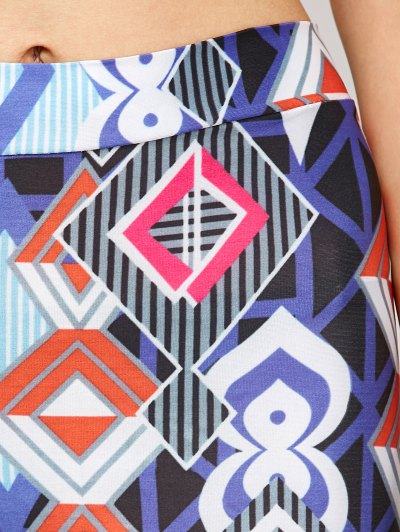 High Waist Geometric Print Leggings - BLUE XL Mobile