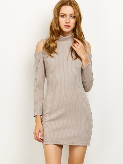 Cold Shoulder High Neck Ribbed Sweater Dress - GRAY 2XL Mobile