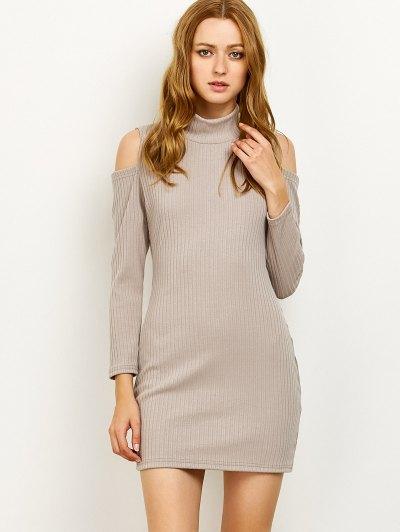 Cold Shoulder High Neck Ribbed Sweater Dress - GRAY L Mobile