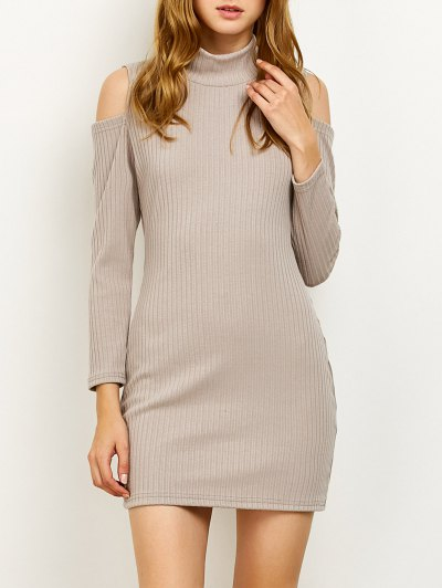 Cold Shoulder High Neck Ribbed Sweater Dress - GRAY S Mobile