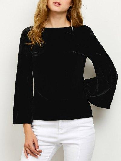 V Back Flare Sleeve Velvet Tee - BLACK XL Mobile
