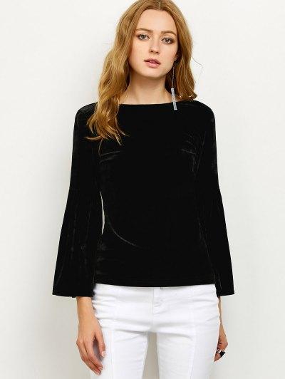 V Back Flare Sleeve Velvet Tee - BLACK L Mobile