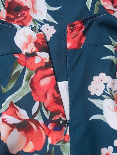 Floral Print Open Back Romper - CADETBLUE 2XL Mobile