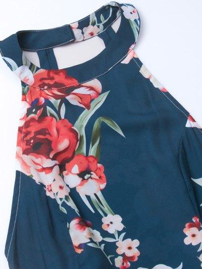 Floral Print Open Back Romper - CADETBLUE M Mobile