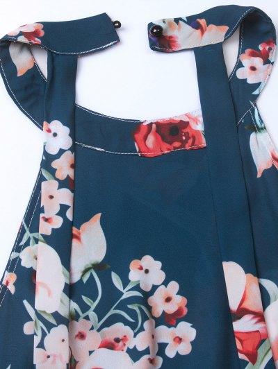 Floral Print Open Back Romper - CADETBLUE S Mobile
