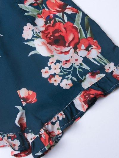 Floral Print Open Back Romper - CADETBLUE XS Mobile