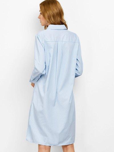Striped High Low Graphic Shirt Dress - STRIPE L Mobile