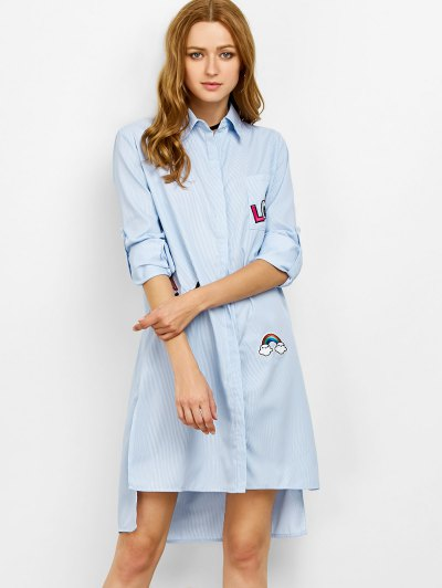 Striped High Low Graphic Shirt Dress - STRIPE M Mobile