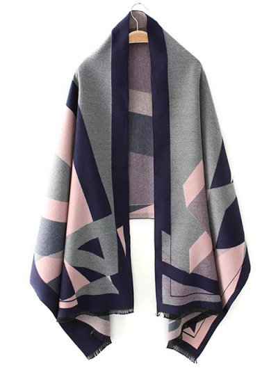 Geometric Jacquard Knitted Poncho - PINK ONE SIZE Mobile