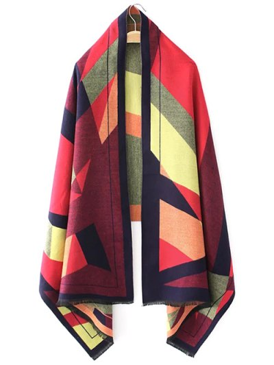 Geometric Jacquard Knitted Poncho - RED ONE SIZE Mobile