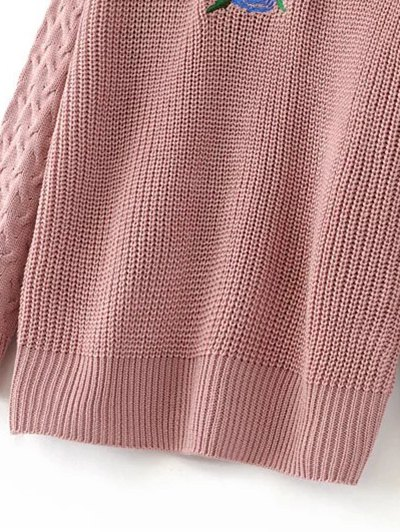 Oversized Floral Embroidered Sweater - PINK XL Mobile