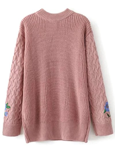 Oversized Floral Embroidered Sweater - PINK M Mobile