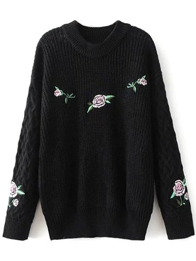 Oversized Floral Embroidered Sweater - BLACK M Mobile