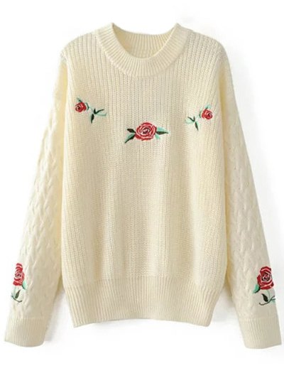 Oversized Floral Embroidered Sweater - OFF-WHITE L Mobile