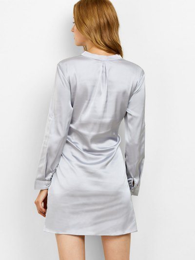 Tied Stand Neck Satin Shirt Dress - GRAY M Mobile