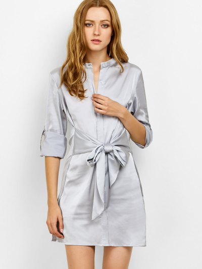 Tied Stand Neck Satin Shirt Dress - GRAY S Mobile