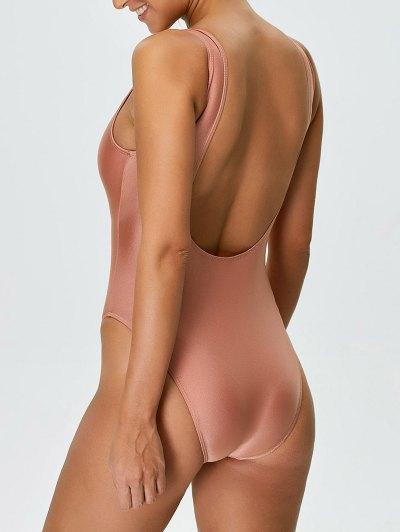 High Cut Backless Swimwear - PINK M Mobile