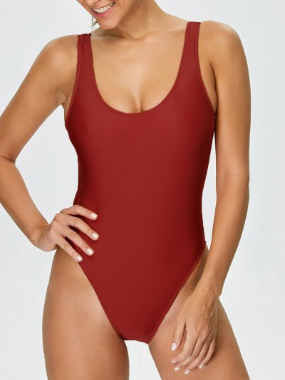 High Cut Backless Swimwear - RED L Mobile