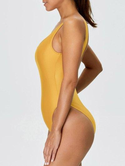 High Cut Backless Swimwear - YELLOW L Mobile