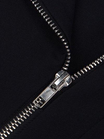 Zip Up Asymmetric Peplum Blazer - BLACK XL Mobile