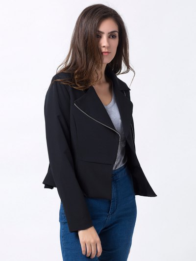 Zip Up Asymmetric Peplum Blazer - BLACK L Mobile