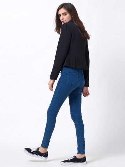 Zip Up Asymmetric Peplum Blazer - BLACK S Mobile