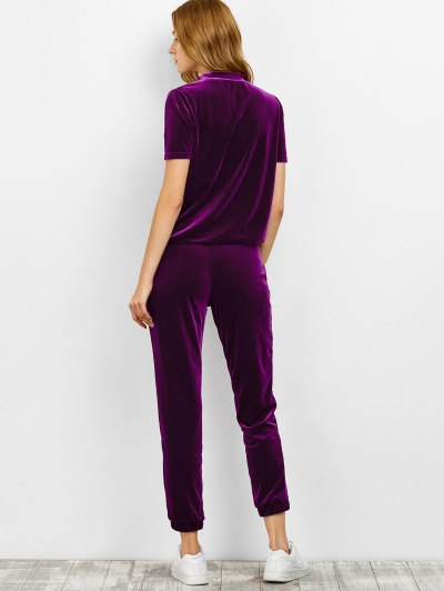 Velvet Tee and Jogging Pants Sweat Suit - PURPLISH RED M Mobile