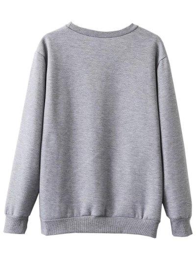 Fleece Lined Glasses Graphic Sweatshirt - GRAY S Mobile