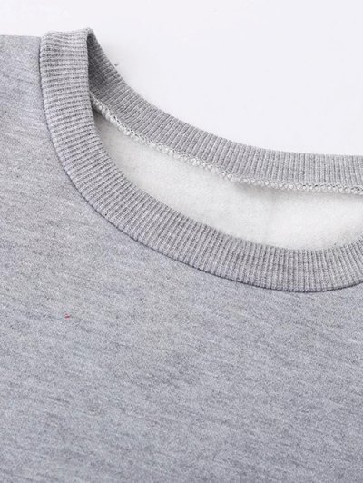 Fleece Lined Glasses Graphic Sweatshirt - GRAY M Mobile
