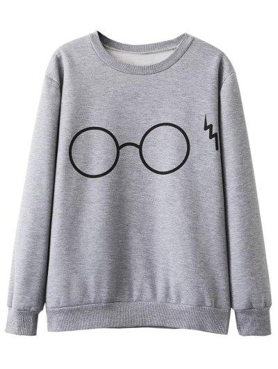 Fleece Lined Glasses Graphic Sweatshirt - GRAY L Mobile