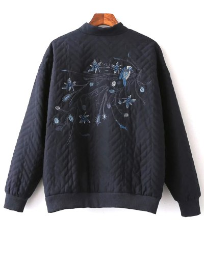 Herringbone Quilted Embroidered Jacket - PURPLISH BLUE S Mobile