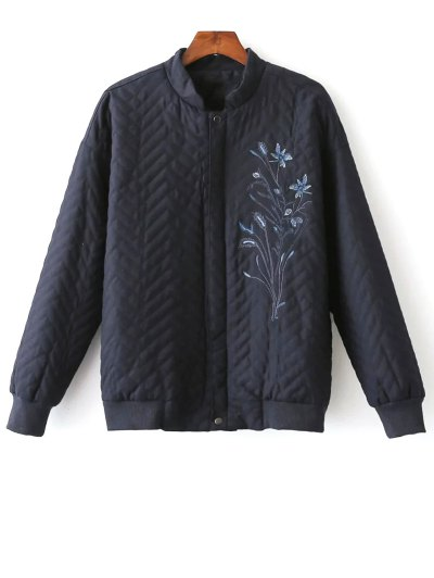Herringbone Quilted Embroidered Jacket - PURPLISH BLUE M Mobile