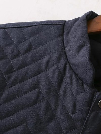 Herringbone Quilted Embroidered Jacket - PURPLISH BLUE L Mobile