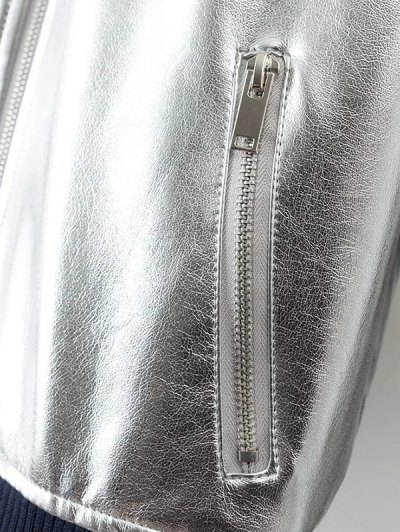 Metallic PU Leather Bomber Jacket - SILVER L Mobile